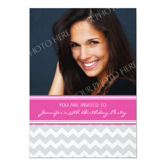Pink Gray Photo 35th Birthday Party Invitations