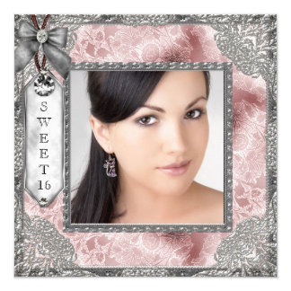 Pink Gray Photo Sweet 16 Birthday Party 5.25x5.25 Square Paper Invitation Card