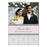 Pink Gray Photo Wedding Thank You Card