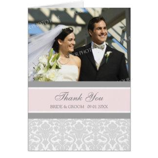 Pink Gray Photo Wedding Thank You Card