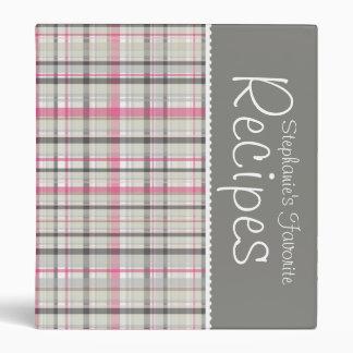 Pink & Gray Picnic Plaid Personalized Recipe Binder