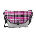 Pink Gray Plaid Messenger Bag