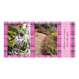 Pink Gray Plaid Tartan 2 Photo Card