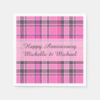 Pink Gray Plaid Tartan | Add Your Name Napkin