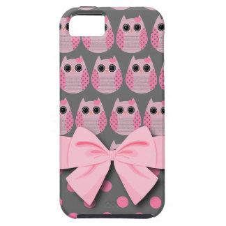 Pink Gray Polka Dot Owls iphone 5 Case