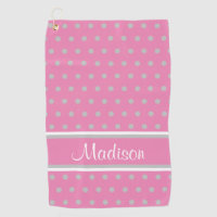 Pink Gray Polka Dot Stripes Script Name Golf Towel