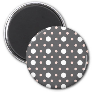 pink & gray polka dots 2 inch round magnet
