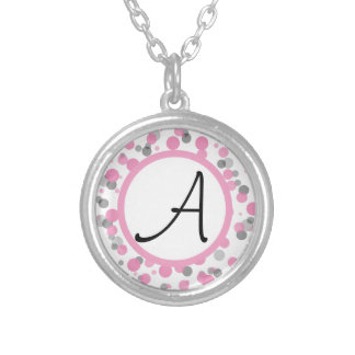 Pink & Gray Polka Dots Add Your Letter Jewelry