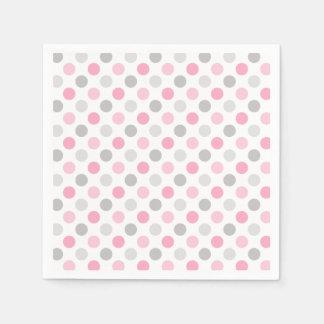 Pink Gray Polka Dots Napkin