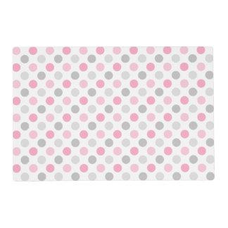 Pink Gray Polka Dots Placemat