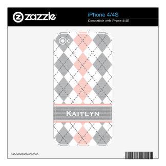 Pink Gray Preppy Argyle iPhone 4 / 4s Skin