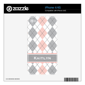 Pink Gray Preppy Argyle iPhone 4 / 4s Skin Skin For iPhone 4