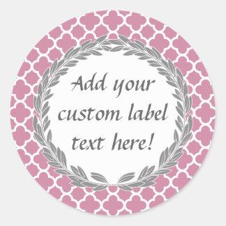 Pink Gray Pretty Custom Canning Jar Craft Label