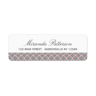Pink + Gray Quatrefoil Address Labels