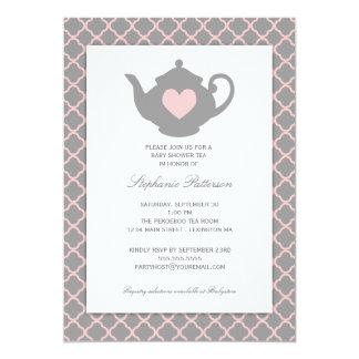Pink + Gray Quatrefoil Baby Shower Tea Party Card