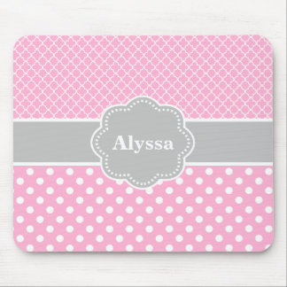 Pink Gray Quatrefoil Chevron Personalized Mousepad