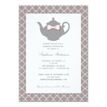 Pink + Gray Quatrefoil Wedding Tea Invitation