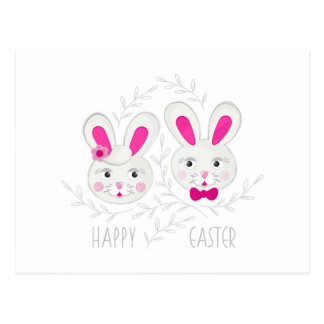 pink gray rabbit couple Easter wishes Postcard