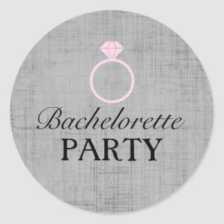 Pink & Gray Ring Design Bachelorette Party Sticker