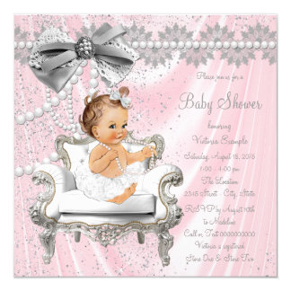 Pink Gray Satin Pearl Chair Baby Shower Card