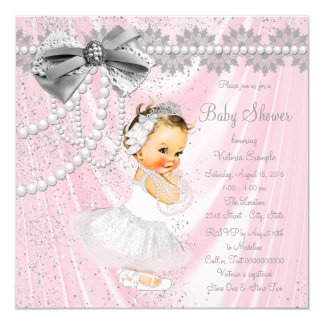 Pink Gray Satin Pearl Little Lady Baby Shower Card