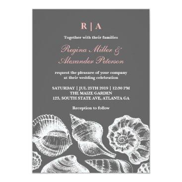 Beach Themed Pink Gray Seashells Beach Wedding Invitation