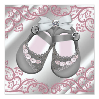 Pink Gray Shoes Swirls Pink Gray Baby Girl Shower 5.25x5.25 Square Paper Invitation Card