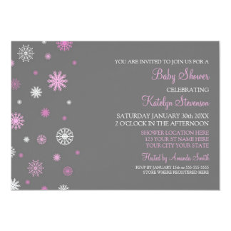 Pink Gray Snow Christmas Custom Baby Shower Card