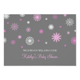 Pink Gray Snow Christmas Custom Baby Shower Invite