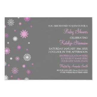 "Pink Gray Snow Christmas Custom Baby Shower 5"" X 7"" Invitation Card"