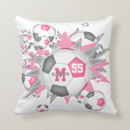 pink gray soccer ball blowout girly sports decor throw pillow