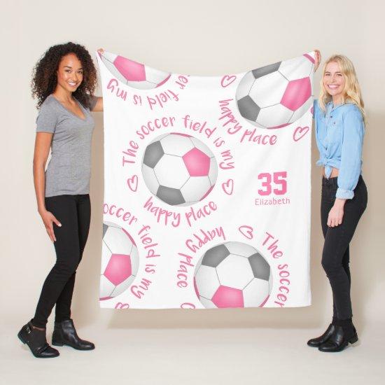pink gray soccer field my happy place sports decor fleece blanket