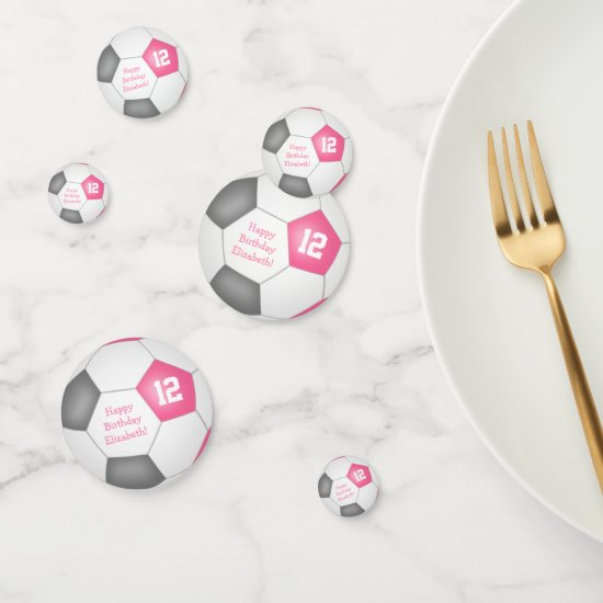 pink gray soccer girly birthday party confetti