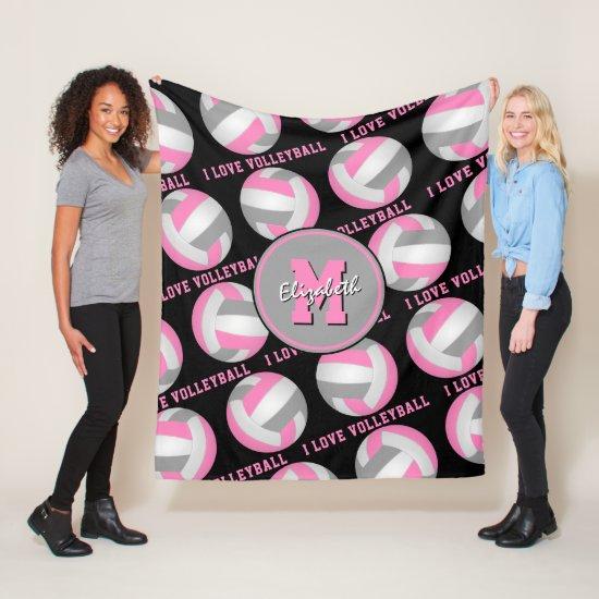 pink gray sports room I love volleyball pattern Fleece Blanket