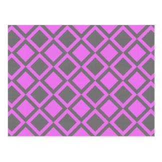 pink gray squares or diamonds postcard