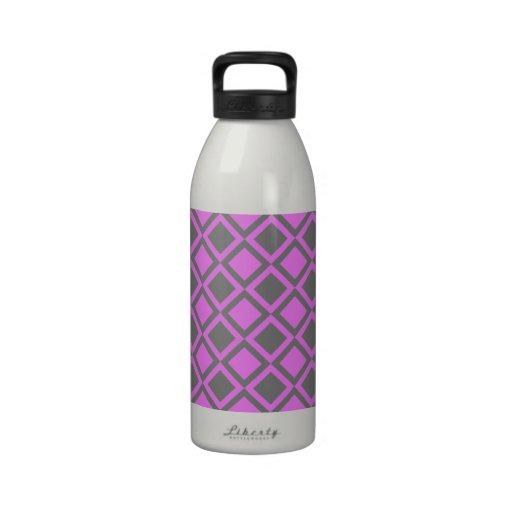 pink gray squares or diamonds drinking bottles