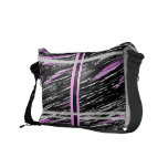 Pink Gray Stripe Scratch Messenger Bag