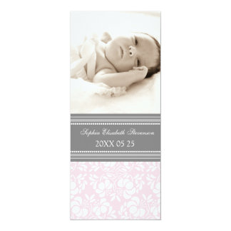 """Pink Gray Template New Baby Birth Announcement 4"""" X 9.25"""" Invitation Card"""