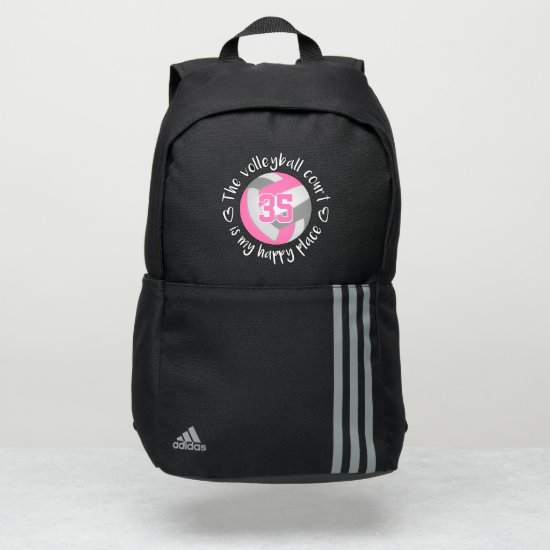 pink gray The volleyball court is my happy place Adidas Backpack