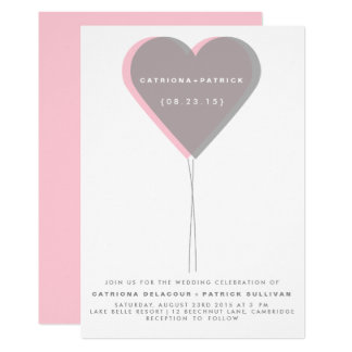 Pink & Gray Twin Hearts Balloon Wedding Invitation
