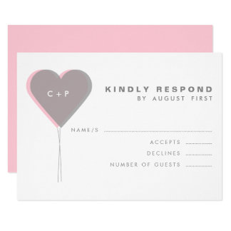 Pink & Gray Twin Hearts Balloons RSVP Card