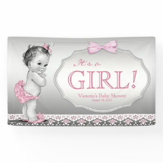 Pink Gray Vintage Baby Girl Baby Shower Banner