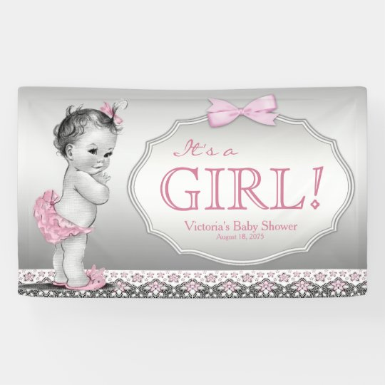 pink gray vintage baby girl baby shower banner zazzle com