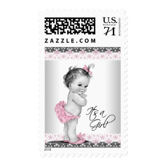 Pink Gray Vintage Baby Girl Shower Postage