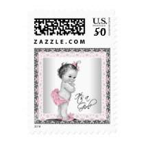 Pink Gray Vintage Baby Shower Postage