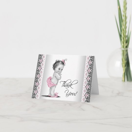 Pink Gray Vintage Baby Shower Thank You Zazzle