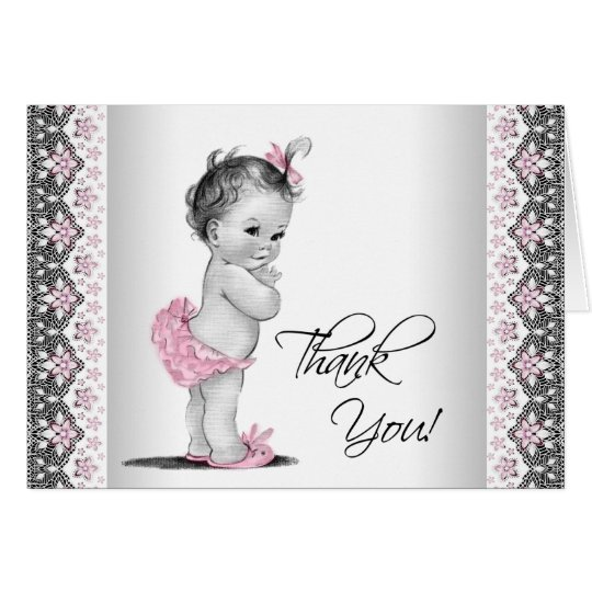 Vintage Baby Shower Thank You Cards: Pink Gray Vintage Baby Shower Thank You Card