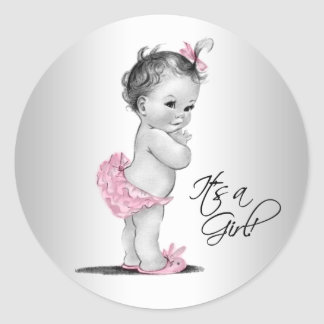 Pink Gray Vintage Girl Baby Shower Classic Round Sticker