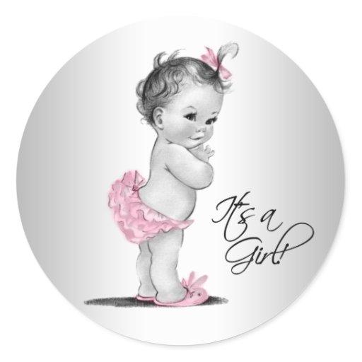 Pink Gray Vintage Girl Baby Shower Classic Round Sticker