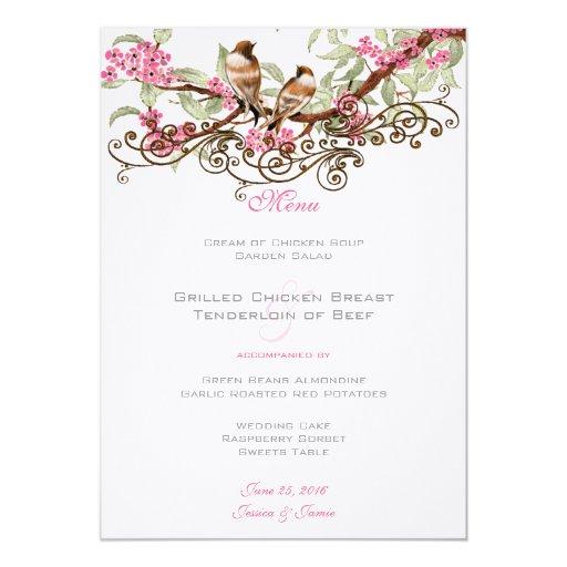 Pink & Gray Vintage Love Birds Wedding Menu Announcement